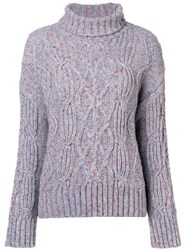 Ymc Speckled Chunky Knit Jumper Blue