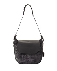 Rag And Bone Rag And Bone Bradbury Shearling Fur Flap Hobo Bag Gray