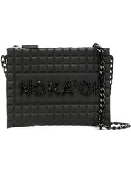 No Ka' Oi Bead Embroidered Waffled Crossbody Black