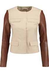 Michael Michael Kors Leather Paneled Stretch Cotton Jacket Nude