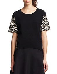 Kenneth Cole Henrietta Leopard Print Sweater Black