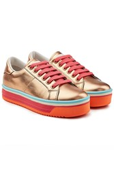 Marc Jacobs Empire Platform Leather Sneakers Pink