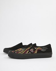 Asos Design Slip On Plimsolls In Black Mesh With Dragon Embroidery