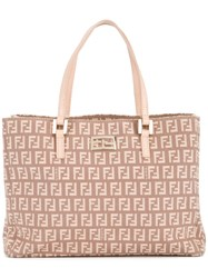 Fendi Vintage Zucca Pattern Hand Bag Nude And Neutrals