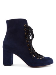 Chloe Miles Mid Heel Suede Ankle Boots Blue