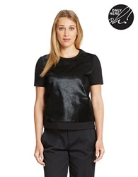 424 Fifth Calf Hair Paneled Top Black