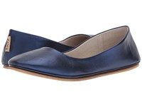 French Sole Sloop Flat Navy Silk Nappa Flat Shoes Blue