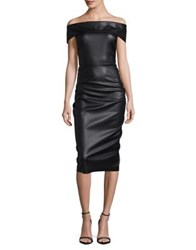 Nicole Bakti Off The Shoulder Faux Leather Midi Dress Black