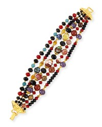 Jose And Maria Barrera Multi Strand Beaded Bracelet Black Red