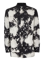 Topman Black Bleach Splat Longline Denim Shirt