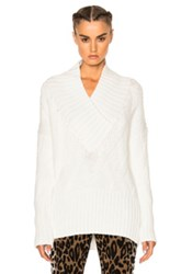 Kenzo Cable Knit Sweater In White