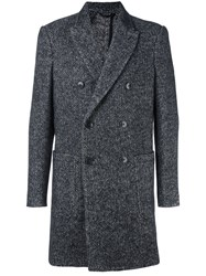 Dondup Herringbone Coat Black