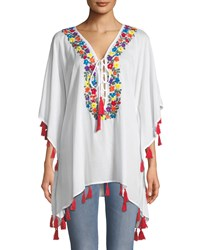 Bindya Floral Embroidered Lace Up Tunic White