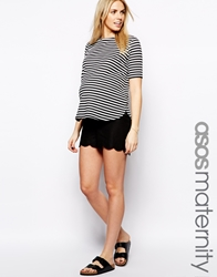 Asos Maternity Linen Shorts With Scallop Black