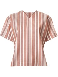 G.V.G.V. Striped Wide Fit V Neck T Shirt Brown