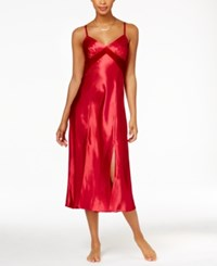 Thalia Sodi Velour Trimmed Long Satin Nightgown Only At Macy's Royal Red
