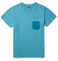 Blue Blue Japan Slim Fit Velour Trimmed Cotton Jersey T Shirt Turquoise