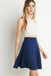 Forever 21 Ribbed Knit Skater Skirt Navy