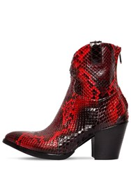 Rocco P. 70Mm Python Skin Boots Red