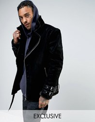 Mennace Faux Suede Aviator Jacket In Black With Faux Fur Lining Black Black