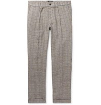 Todd Snyder Grey Slim Fit Checked Linen Drawstring Trousers Gray