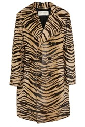 Saint Laurent Tiger Print Goat Hair Coat Leopard Print Brown