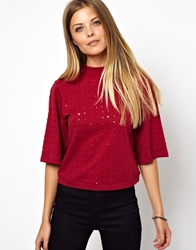 Asos Top In Sequin With Turtle Neck Red