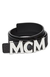 Mcm 'S Letter Reversible Coated Canvas Leather Belt Black W Silver
