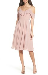 Jenny Yoo 'S Kelli Cold Shoulder Chiffon Dress Whipped Apricot