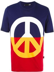 Love Moschino Peace Print T Shirt Blue