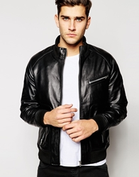 Barney's Leather Zip Detail Bomber Jacket Black
