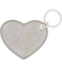 Aspinal Of London Saffiano Heart Keyring Grey