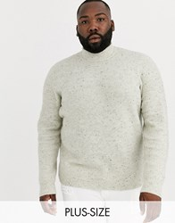 Only And Sons High Neck Fleck Ribbed Knitted Jumper In Cream