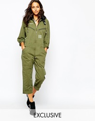Story Of Lola Utility Flight Jumpsuit With Faux Fur Collar Khaki