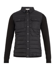 Moncler Quilted Panel Nylon And Wool Blend Jacket Black