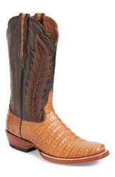 Ariat Men's Turnback Cowboy Boot Tan Caiman Belly Leather