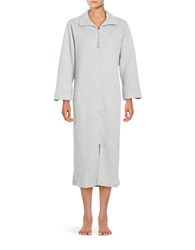 Miss Elaine Zip Front Quilted Robe Grey