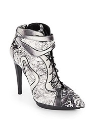 Pierre Hardy Embossed Snakeskin Leather Booties Black White