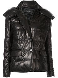 Tom Ford Padded Hooded Leather Jacket Black
