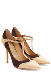 Salvatore Ferragamo Mary Jane Leather Pumps Beige