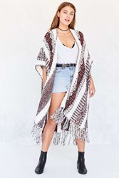 Ecote Textured Stripe Sweater Poncho Red Multi