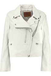 Mcq By Alexander Mcqueen Leather Biker Jacket Off White