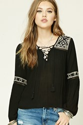 Forever 21 Lace Up Embroidered Peasant Top
