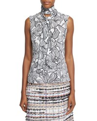 Oscar De La Renta Sleeveless Lily Print Tie Neck Top Black