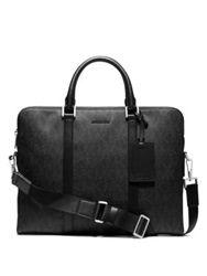 Michael Kors Leather Trimmed Double Zip Briefcase Black