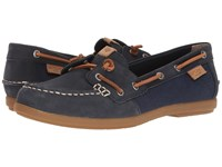 Sperry Coil Ivy Leather Canvas Navy Women's Moccasin Shoes