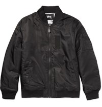 Stussy Satin She Bomber Jacket Back Black
