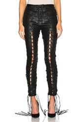Unravel Lace Up Leather Pants In Black