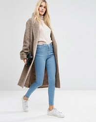 Asos Oversized Knitted Coat In Wool Blend With Shawl Collar Oatmeal Cream