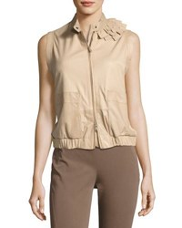Brunello Cucinelli Nappa Zip Front Vest Light Brown